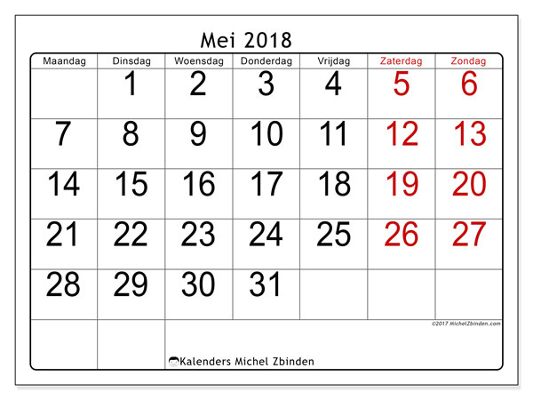Kalender mei 2018 (62MZ). Gratis printbare kalender.