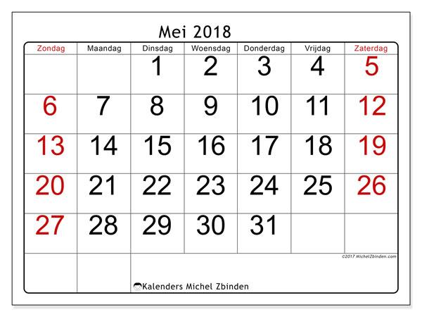 Kalender mei 2018 (62ZZ). Gratis afdrukbare kalender.