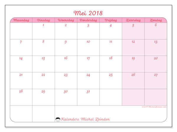 Kalender mei 2018 (63MZ). Kalender om gratis af te drukken.