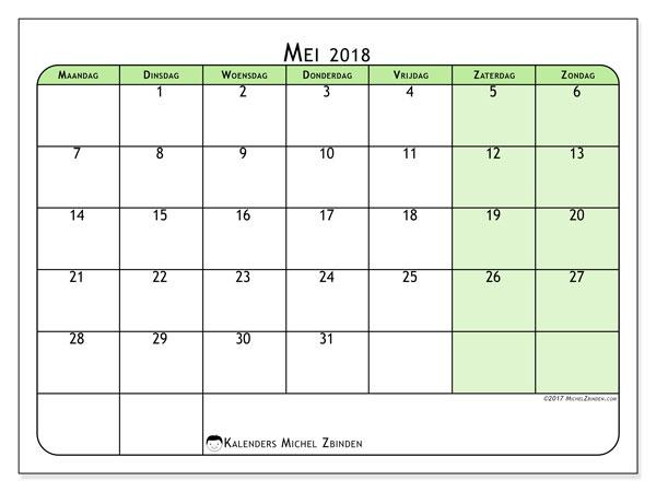 Kalender mei 2018 (65MZ). Schema om gratis te printen.