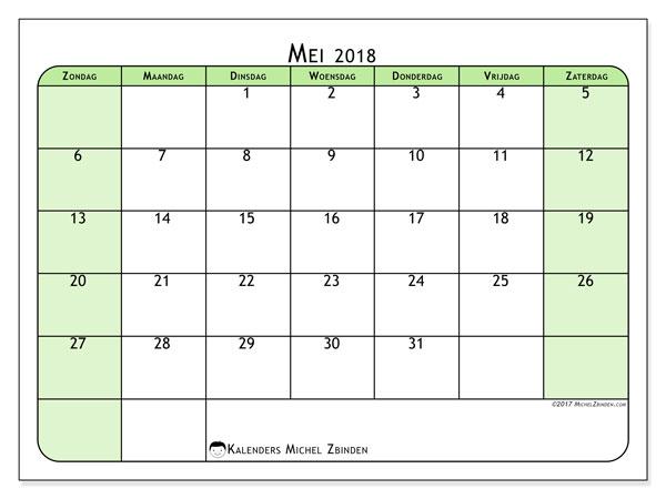 Kalender mei 2018 (65ZZ). Gratis afdrukbare kalender.