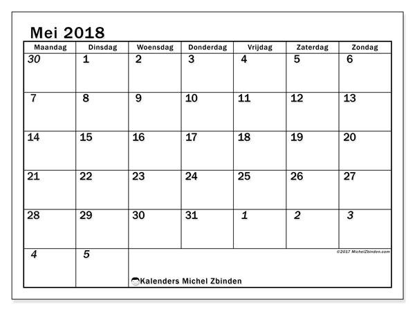 Kalender mei 2018 (66MZ). Agenda om gratis te printen.