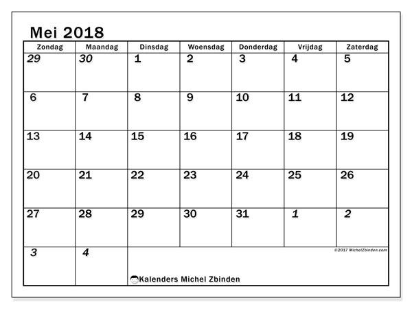 Kalender mei 2018 (66ZZ). Gratis afdrukbare kalender.