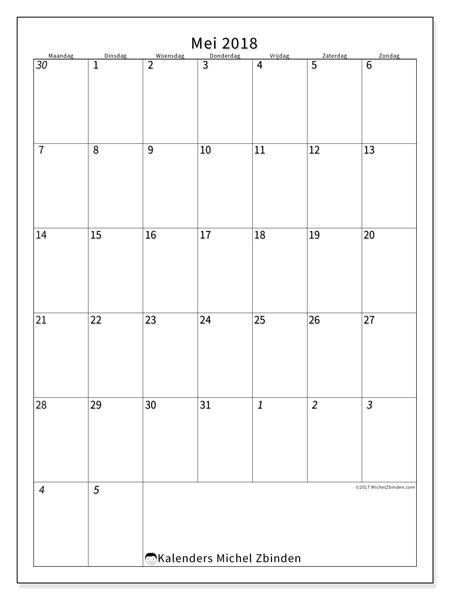 Kalender mei 2018 (68MZ). Gratis kalender om af te drukken.
