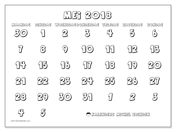 Kalender mei 2018 (71MZ). Gratis afdrukbare kalender.