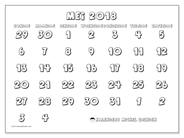 Kalender mei 2018 (71ZZ). Gratis printbare kalender.