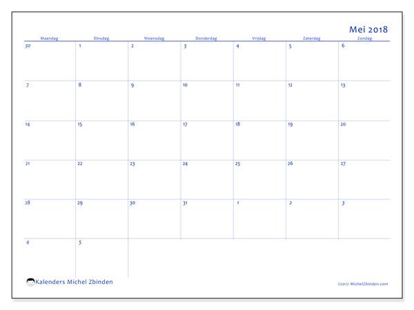 Kalender mei 2018 (73MZ). Kalender voor de maand die gratis moet worden afgedrukt.