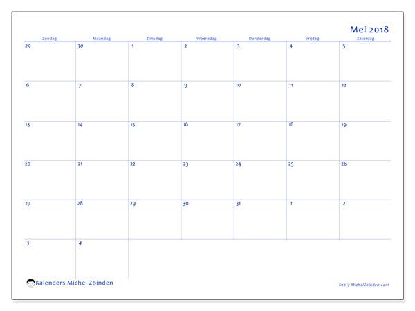 Kalender mei 2018 (73ZZ). Schema om gratis te printen.