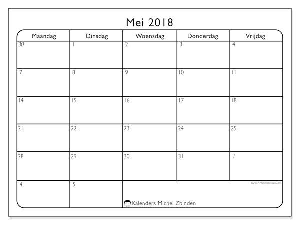 Kalender mei 2018 (74MV). Kalender om gratis af te drukken.
