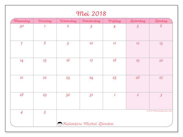 Kalender mei 2018 (76MZ). Gratis kalender om af te drukken.