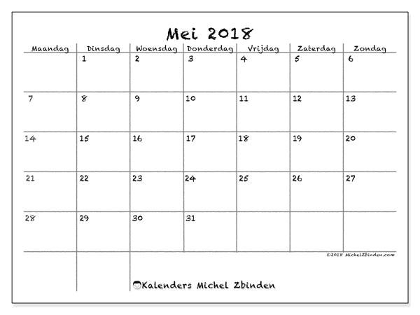 Kalender mei 2018 (77MZ). Maandkalender om gratis te printen.