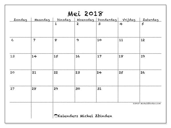 Kalender mei 2018 (77ZZ). Kalender om gratis af te drukken.