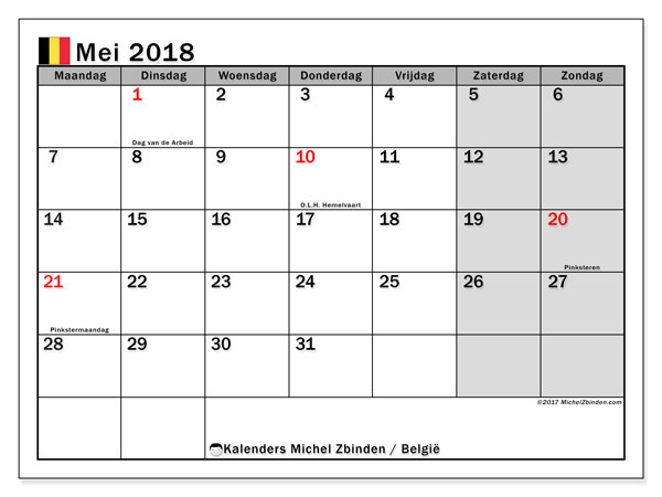 Kalender mei 2018 met de feestdagen van België. Gratis kalender om af te drukken.