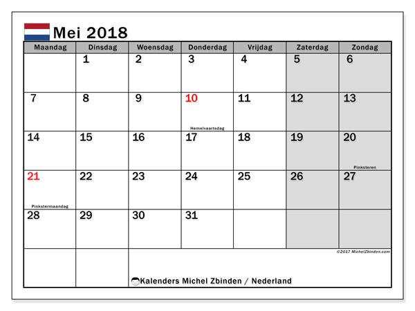Kalender 2018 Mei