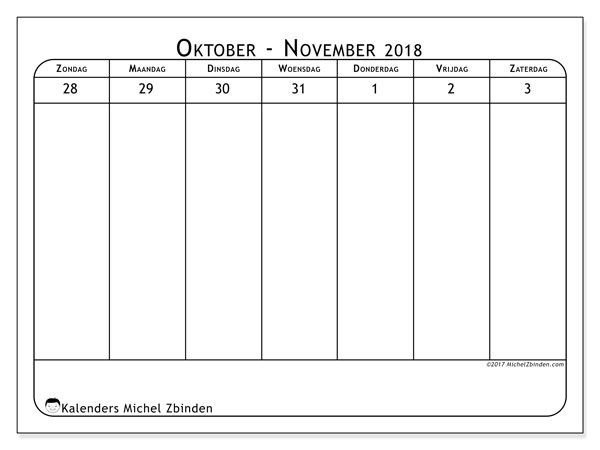 Kalender november 2018 (43-1ZZ). Gratis kalender om af te drukken.