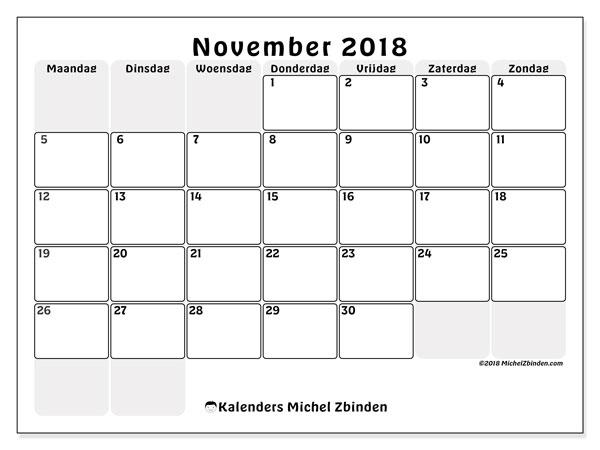 Kalender november 2018 (44MZ). Kalender om gratis af te drukken.