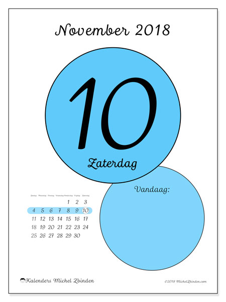 Kalender november 2018 (45-10ZZ). Kalender voor de dag om gratis te printen.