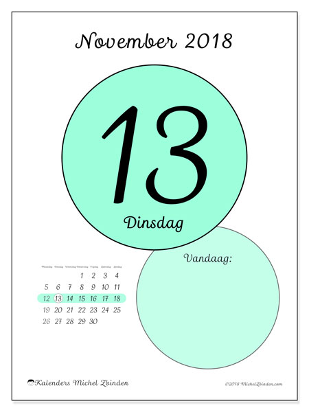 Kalender november 2018 (45-13MZ). Dagelijkse kalender om gratis te printen.
