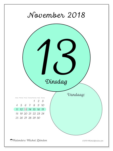 Kalender november 2018 (45-13ZZ). Kalender voor de dag om gratis te printen.