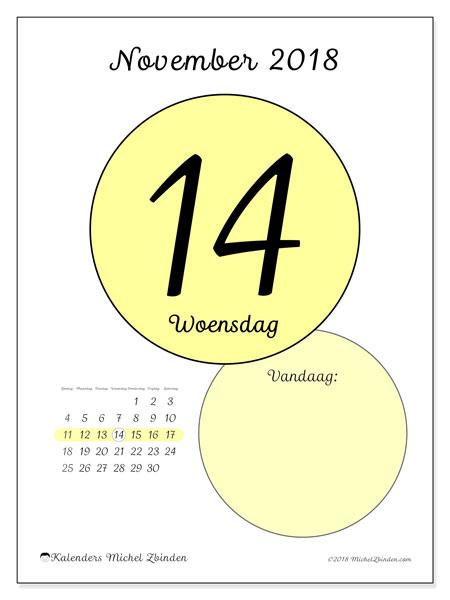 Kalender november 2018 (45-14ZZ). Dagelijkse kalender om gratis te printen.