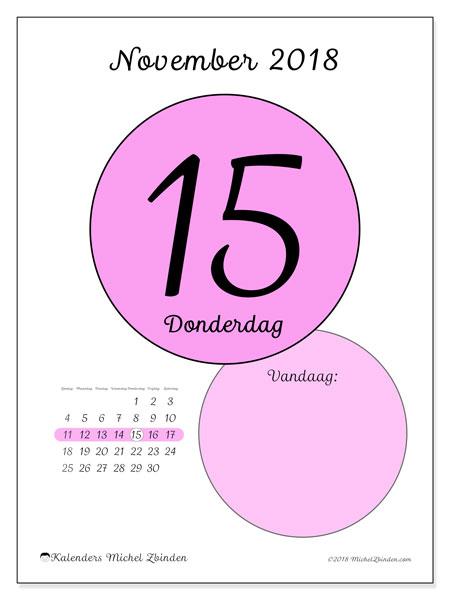 Kalender november 2018 (45-15ZZ). Dagelijkse kalender om gratis te printen.