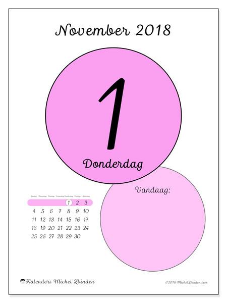 Kalender november 2018 (45-1ZZ). Dagelijkse kalender om gratis te printen.