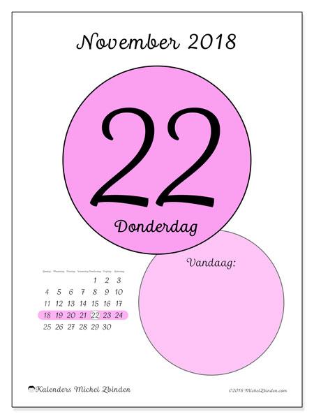 Kalender november 2018 (45-22ZZ). Dagelijkse kalender om gratis te printen.