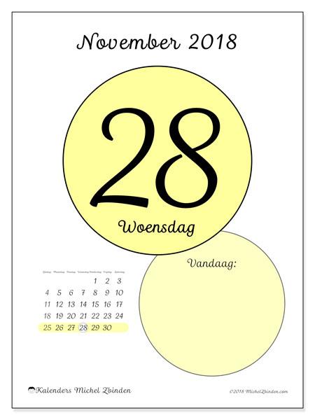 Kalender november 2018 (45-28ZZ). Dagelijkse kalender om gratis te printen.