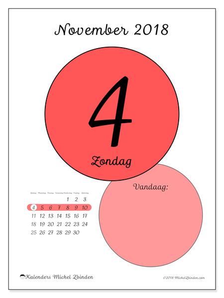 Kalender november 2018 (45-4ZZ). Dagelijkse kalender om gratis te printen.