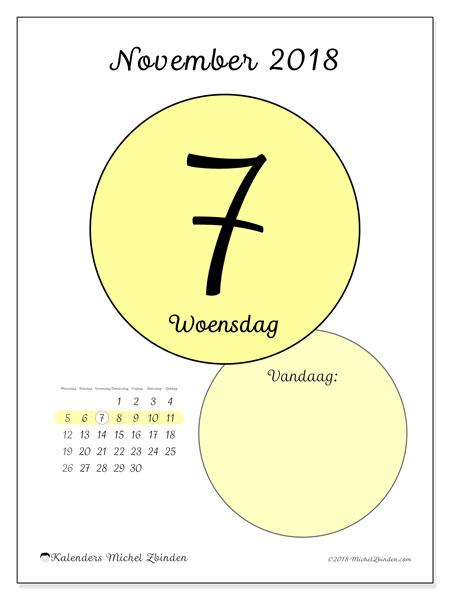 Kalender november 2018 (45-7MZ). Kalender voor de dag om gratis te printen.