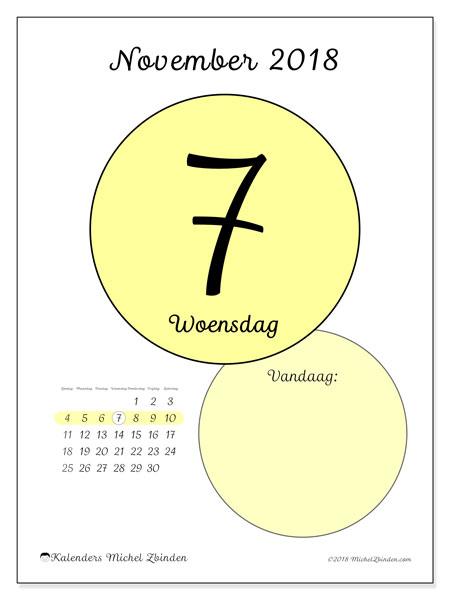 Kalender november 2018 (45-7ZZ). Kalender voor de dag om gratis te printen.