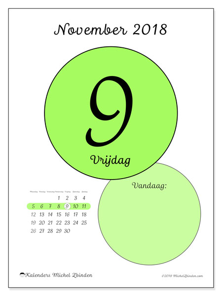 Kalender november 2018 (45-9MZ). Dagelijkse kalender om gratis te printen.