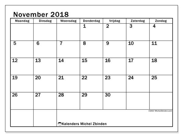 Kalender november 2018 (50MZ). Kalender om gratis te printen.