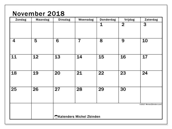 Kalender november 2018 (50ZZ). Schema om gratis te printen.