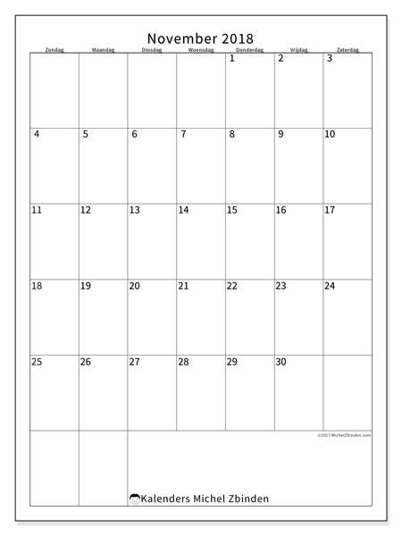Kalender november 2018 (52ZZ). Maandkalender om gratis te printen.