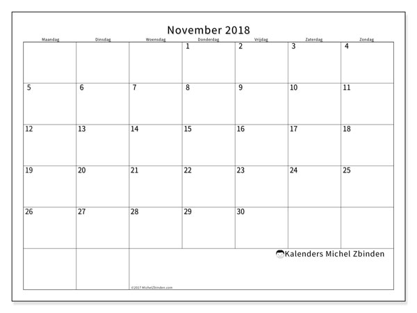 Kalender november 2018 (53MZ). Kalender voor de maand die gratis moet worden afgedrukt.