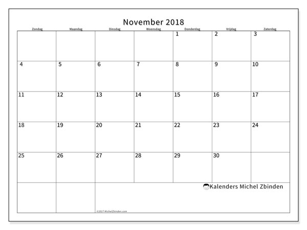 Kalender november 2018 (53ZZ). Kalender voor de maand die gratis moet worden afgedrukt.