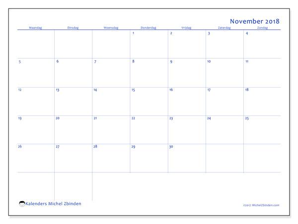 Kalender november 2018 (55MZ). Gratis kalender om af te drukken.