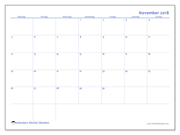 Kalender november 2018 (55MZ). Gratis printbare kalender.