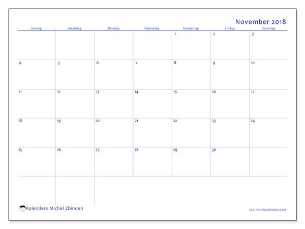 Kalender november 2018 (55ZZ). Kalender om gratis te printen.