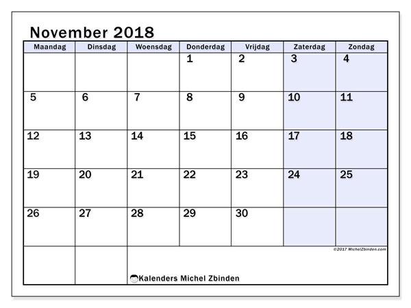 Kalender november 2018 (57MZ). Gratis printbare kalender.