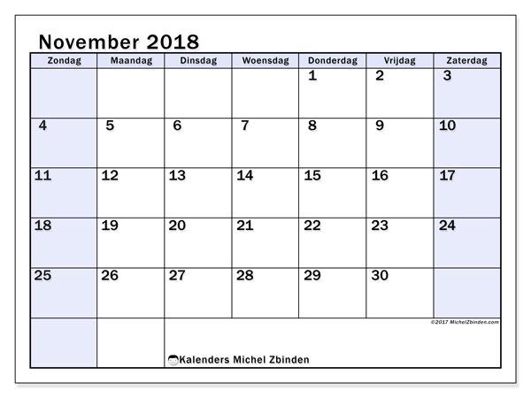 Kalender november 2018 (57ZZ). Kalender om gratis af te drukken.