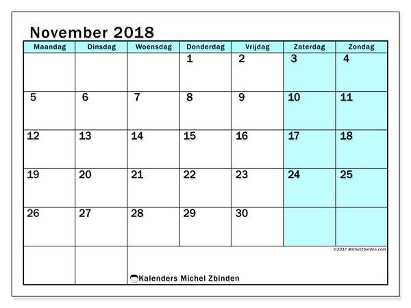 Kalender november 2018 (59MZ). Agenda om gratis te printen.