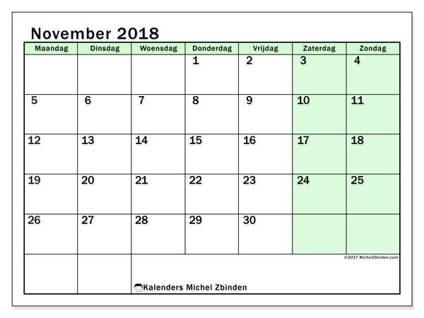 Kalender november 2018 (60MZ). Maandkalender om gratis te printen.