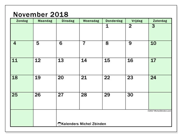 Kalender november 2018 (60ZZ). Kalender om gratis af te drukken.