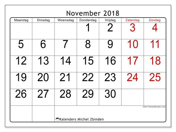Kalender november 2018 (62MZ). Schema om gratis te printen.