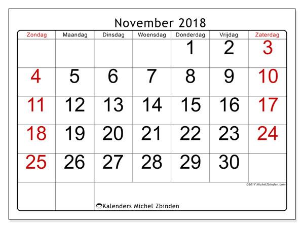 Kalender november 2018 (62ZZ). Kalender om gratis af te drukken.