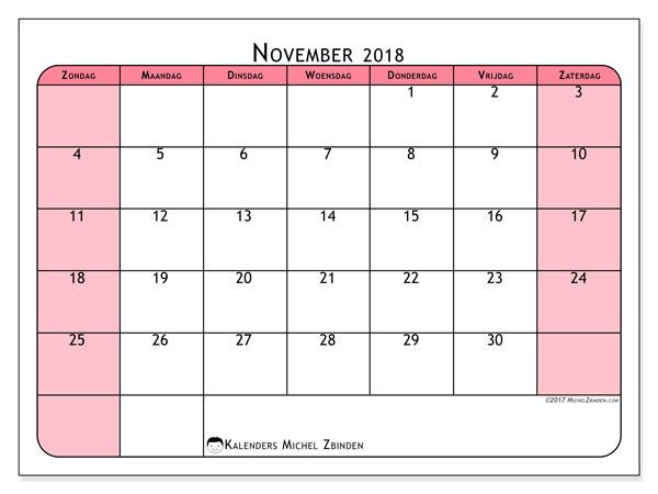 Kalender november 2018 (64ZZ). Schema om gratis te printen.