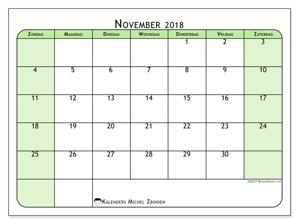 Kalender november 2018 (65ZZ). Kalender voor de maand die gratis moet worden afgedrukt.