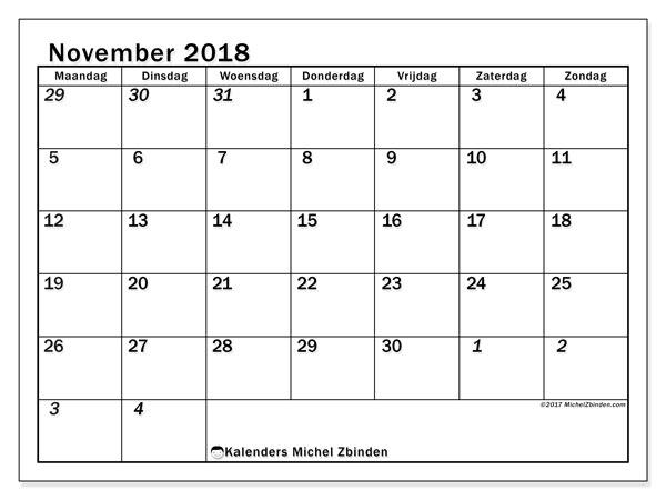 Kalender november 2018 (66MZ). Gratis printbare kalender.